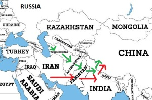 Map of Iran Pakistan Pipeline and TAPI