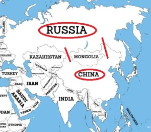 Map of Russia and China
