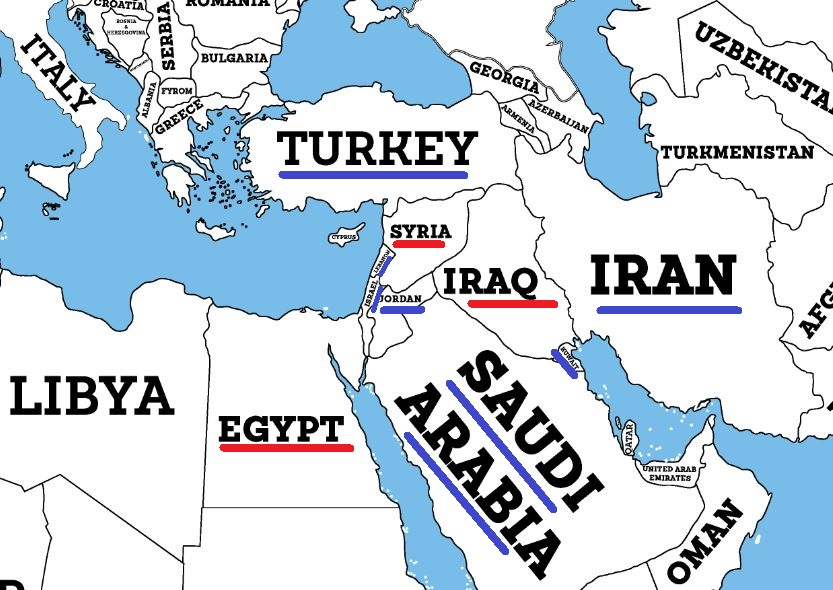 Map of Syria Iraq Egypt