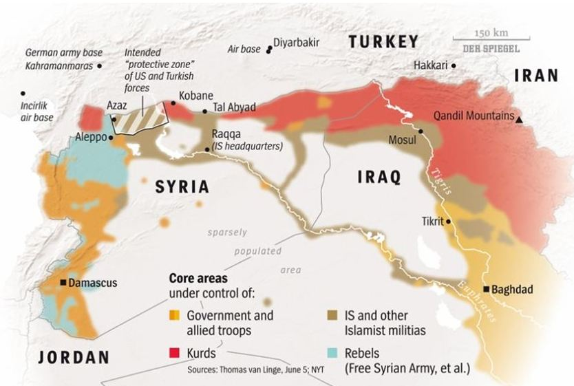 Map Areas Controlled by ISIS