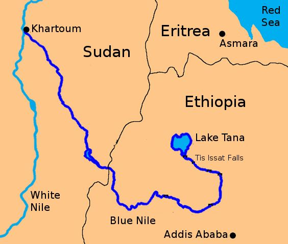 Map of Blue and White Nile
