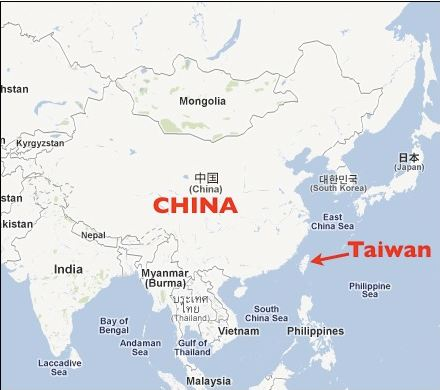 map of china taiwan