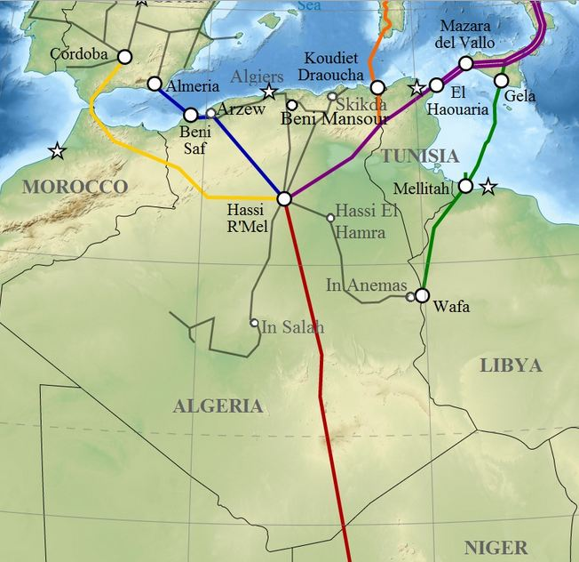 Map of Pipelines from Algeria and Libya