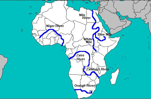 africa map showing nile river