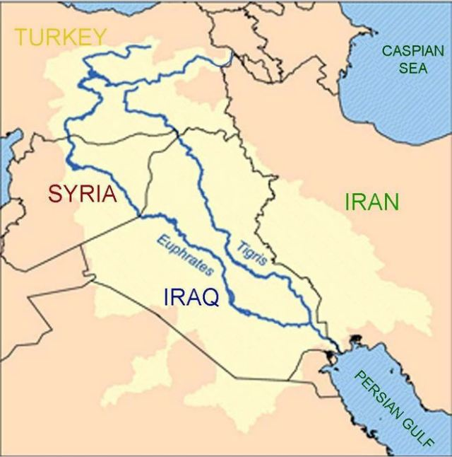 Map of Tiger and Euphates Rivers