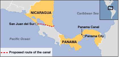 Panama Canal and Nicaragua Canal Map