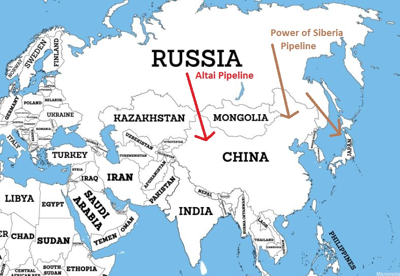 Power of Siberia and Altai Pipeline