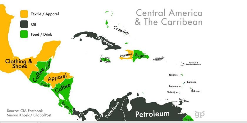 Map of Central America Exports
