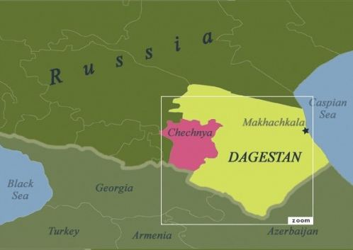 Map of Dagestan and Chechnya