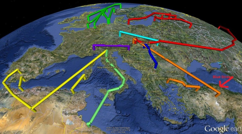 Map of European Natural Gas Pipelines