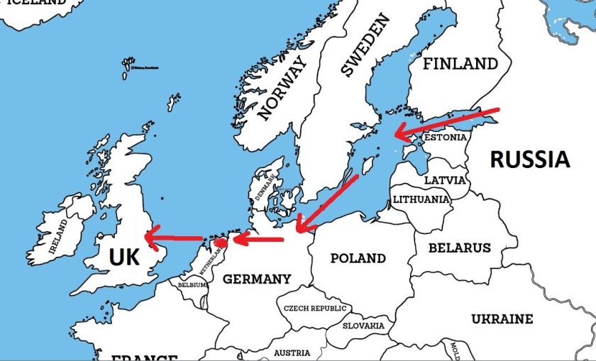 Map of Nord Stream and NEL Pipelines