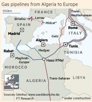 Map of Algerian Pipelines to Europe