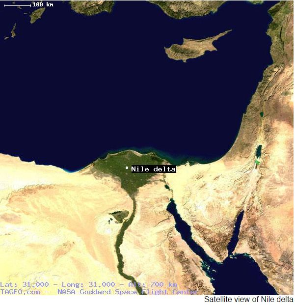 Map of Suez Canal and Nile Delta