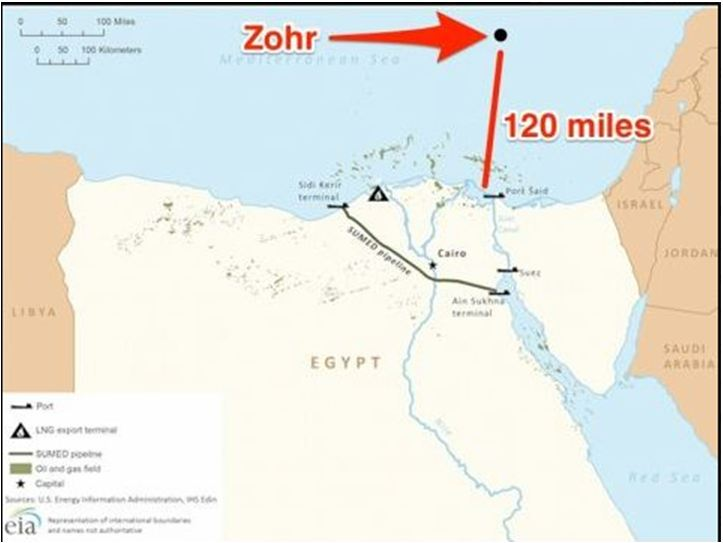 Map of Zohr Natural Gas Field