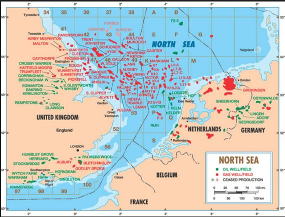 Oil and Gas Fields of North Sea