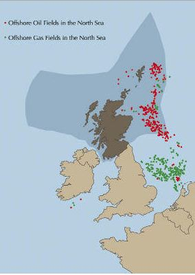 Oil and Natural Gas Fields of the North Sea