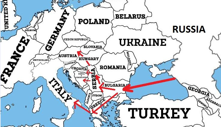 Map of the South Stream Pipeline