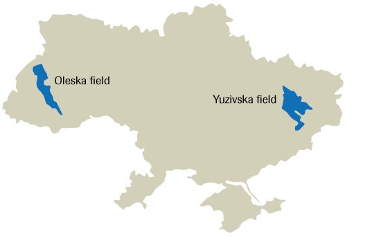 Map of Yuzivska Gas Field