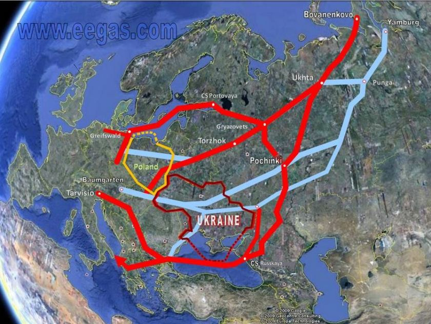 Map of Gazprom's Natural Gas Pipelines