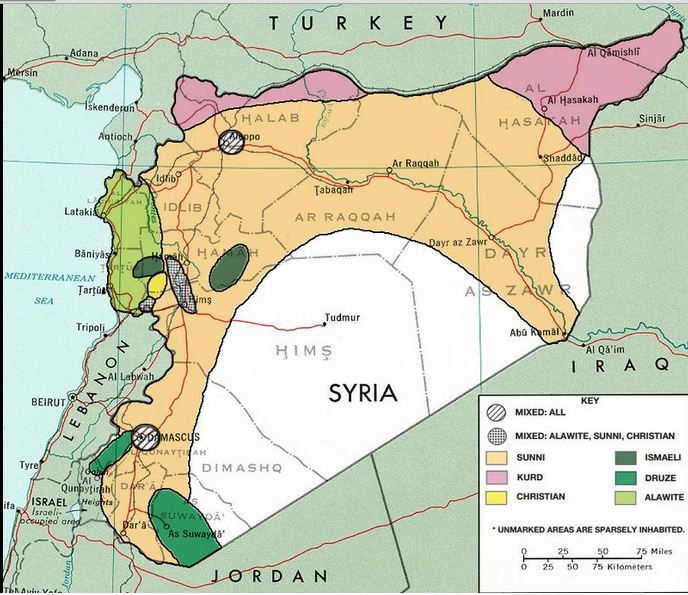 Map of Ethno-Religious Composition of Syria in 1976