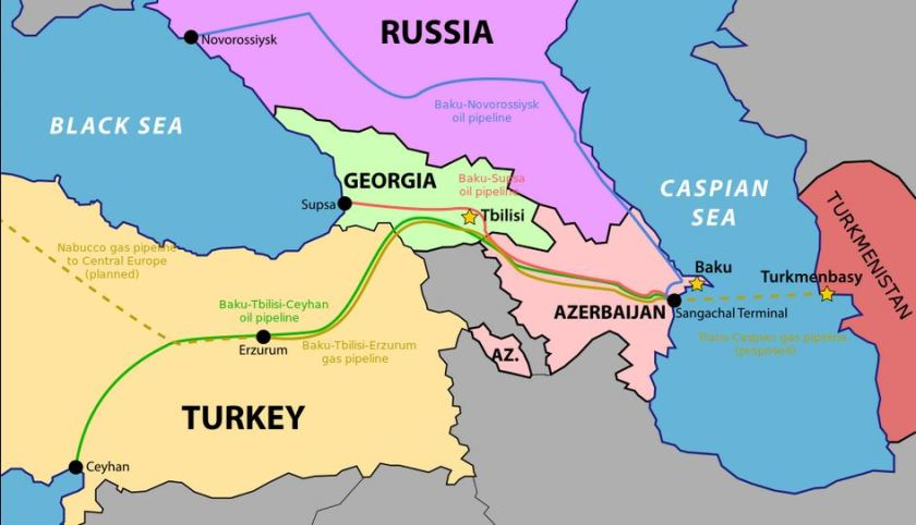Map of Azerbaijan Russia Pipelines