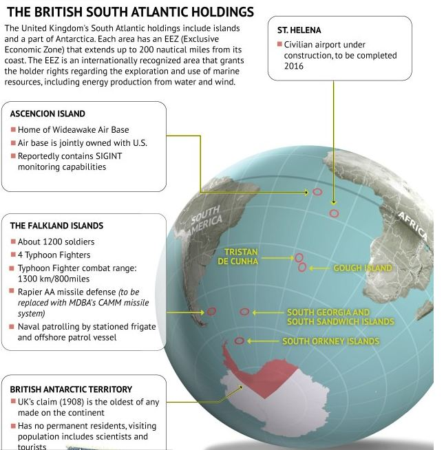 Map of British Islands in South Atlantic Ocean
