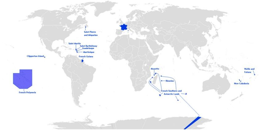 Map of French Oversees Territories