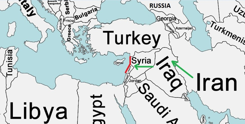 Map of Syria and Lebanon