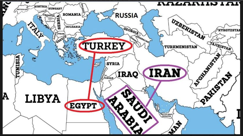 Saudi arabia vs iran egypt vs turkey iakovos alhadeff map saudi arabia egyptg gumiabroncs Choice Image