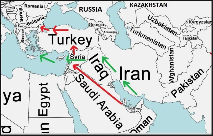 Map Sunni Shiite Pipelines