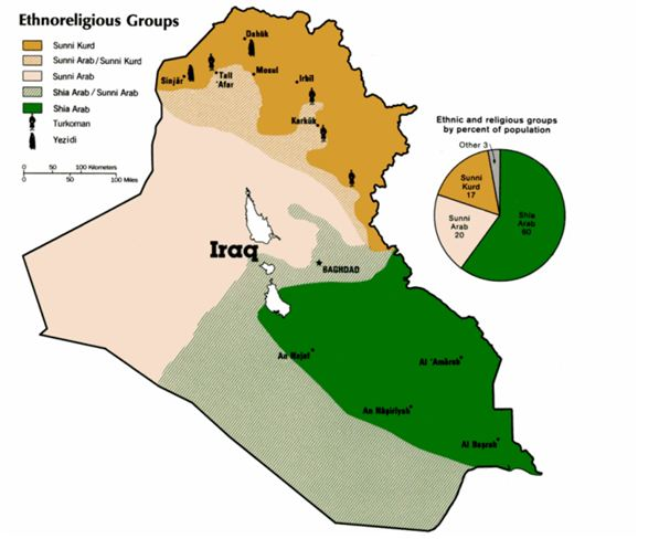 Map of Sunnis and Shias of Iraq
