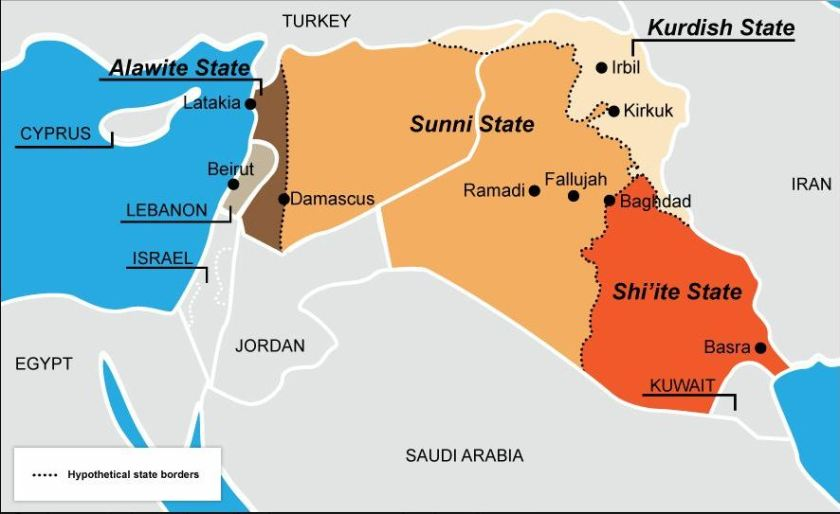 Map Sunni Shiite Kurdish Iraq and Syria.JPG