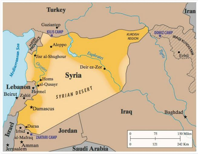 Map of Syrian Desert