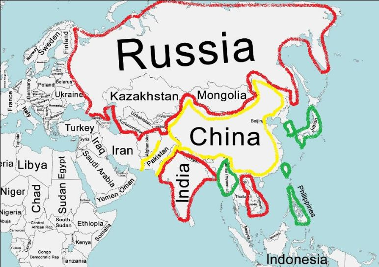 at the time the only reliable ally of china was pakistan with red you can see the soviet allies and with green the american ones
