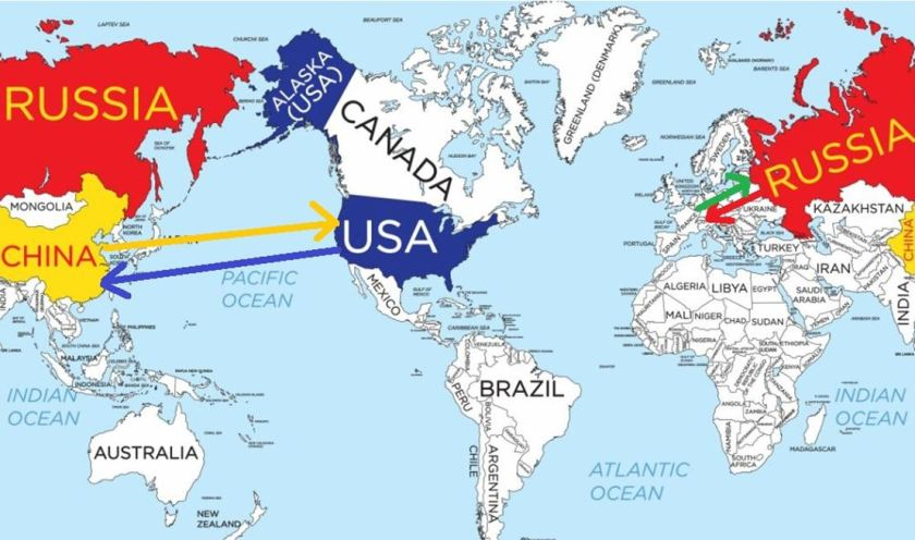 4 Map USA Russia and China