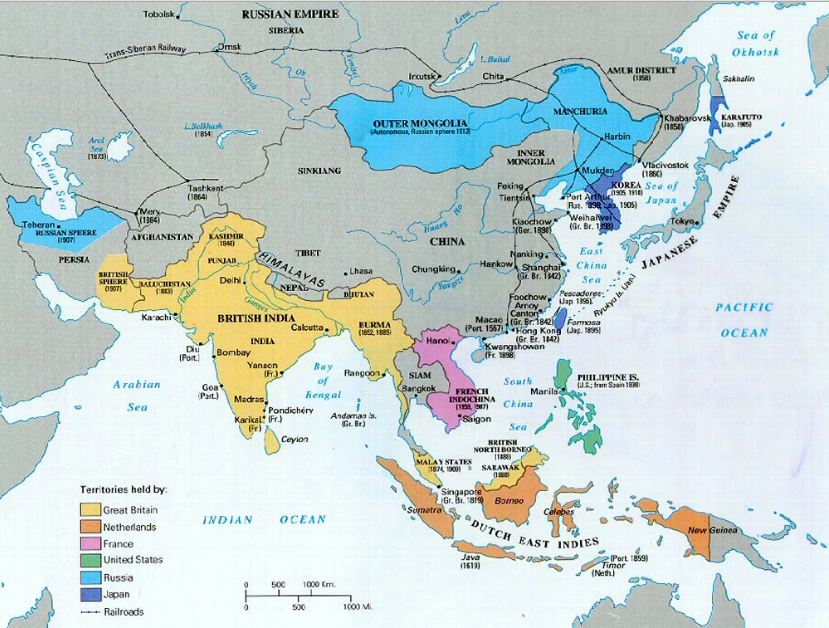 Map of Asian Colonies